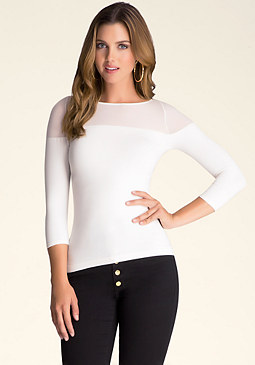 bebe Sheer Shoulder Top
