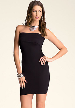 bebe Ribbed Fold-Over Tube Dress