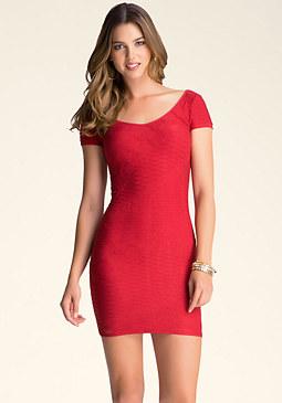 bebe Mixed Texture Bodycon Dress