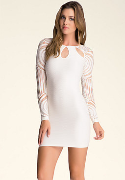 bebe Roxanna Sheer Sleeve Dress