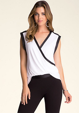 bebe Hi-Lo Surplice Top