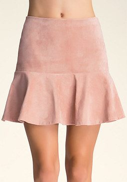 Fit & Flare Suede Skirt at bebe