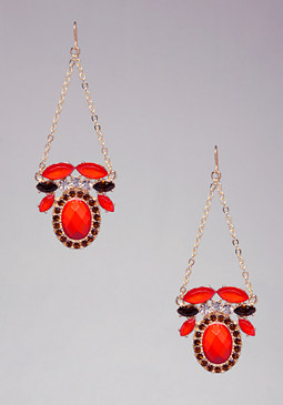 bebe Multi-Stone Chain Earrings