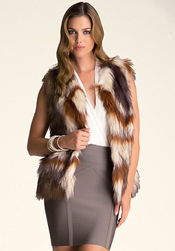 FAUX FUR MULTICOLOR VEST at bebe