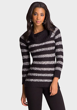 bebe Stripe Foldover Sweater
