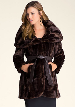 bebe Faux Fur Wrap Coat