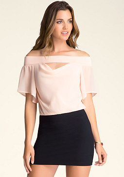 bebe Off-Shoulder Flutter Top
