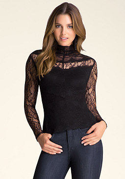 bebe Mock Neck Banded Lace Top