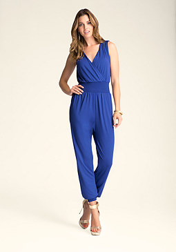 bebe Double V-Neck Jumpsuit