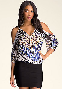 COLD SHOULDER V-NECK TOP at bebe