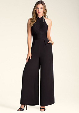 Halter Bandage Jumpsuit at bebe
