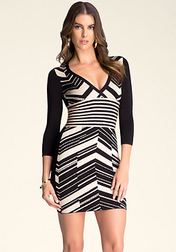 bebe Offset Chevron Dress