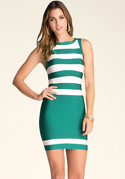 bebe Round Neck Stripe Dress