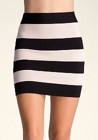 bebe Stripe Bandage Skirt