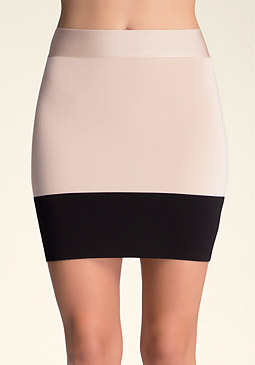 bebe Colorblock Bodycon Skirt