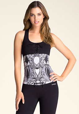 bebe Racerback Lace-Up Tank