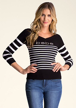 bebe Contrast Stripe Sweater