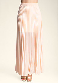 bebe Petite Long Pleated Skirt