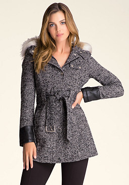 bebe Faux Fur Hood Coat