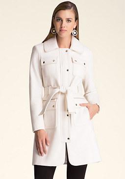 bebe Wool Flap Pocket Coat