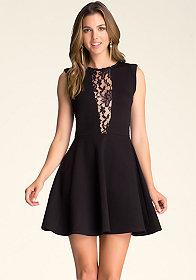 bebe Lace Block Flare Dress