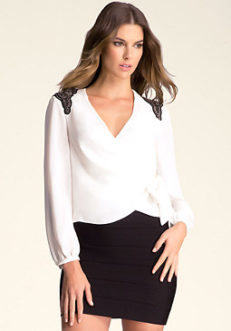 bebe Embellished Tie Top