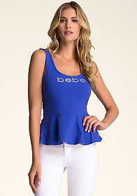 Peplum Logo Tank Top at bebe
