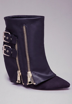 RAINA ZIPPER WEDGE BOOTIES at bebe