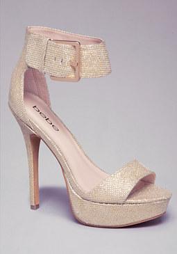 Karrie Glitter Mesh Sandals at bebe