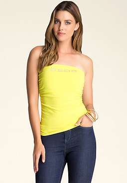 bebe Logo Ruched Tube Top