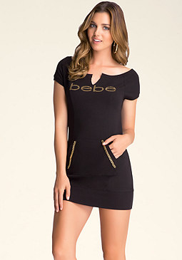bebe Short-Sleeve Boatneck Tunic