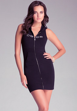 SLEEVELESS ZIP HOODIE DRESS at bebe