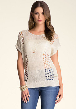 bebe Metallic Mix Yarn Sweater�