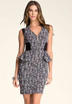 bebe Chloe Tweed Peplum Dress