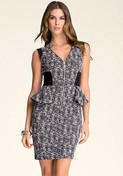 bebe Chloe Tweed Peplum Dress