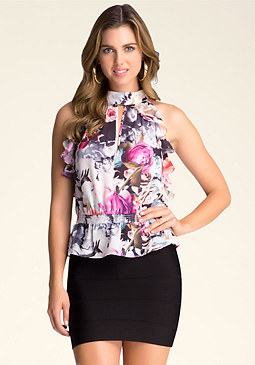 bebe Print Ruffled Top