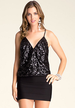 bebe Sequin Wrap Top
