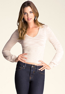 bebe Plunge Neck Sweater