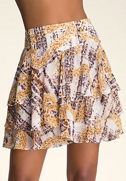 bebe Mixed Print Chiffon Skirt