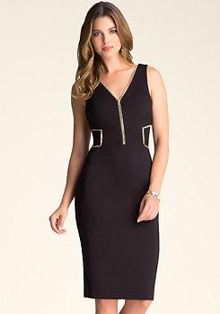 bebe Zip Trim Midi Dress