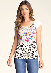 bebe Remix Merrow-Edge Tee