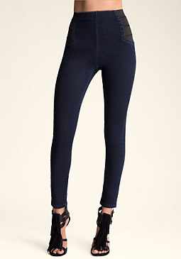 bebe High Waist Zip Jeggings