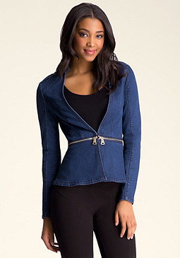 bebe Denim Zip-Off Peplum Jacket