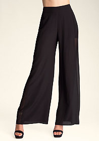 bebe Wide-Leg Tux Stripe Pants