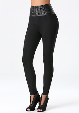 bebe High Waist Belted Leggings