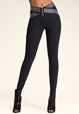 bebe Crystal Waistband Leggings