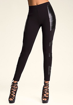 bebe Faux Leather Tux Leggings