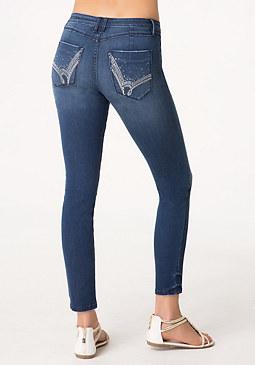 bebe Logo Embellished Jeans