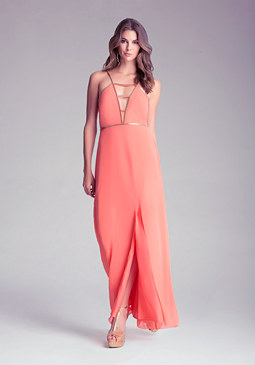 bebe Petite Deep V Maxi Dress