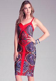 bebe Petite Print Midi Dress